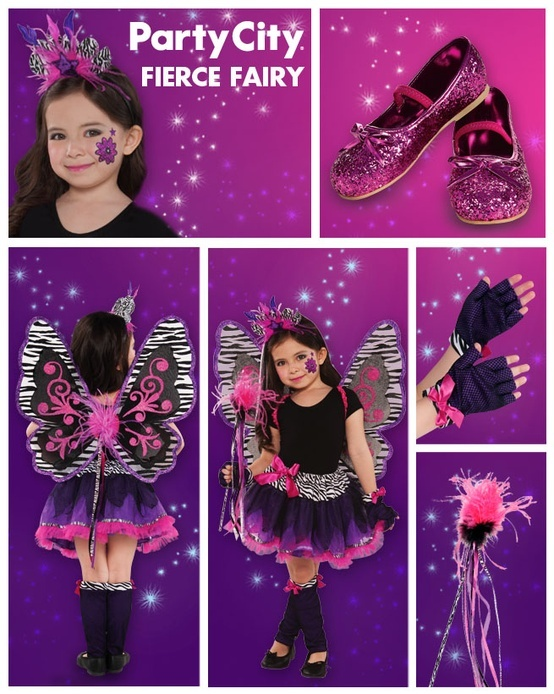 Be winged! Show off as a Fierce Fairy with a mix of pink, purple and zebra-striped costume accessories for a butterfly fairy costume that's all her own. #BeACharacter