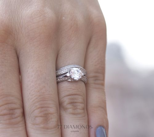 Our Dauphin engagement ring with the matching Dauphin designer eternity ring #bride #wedding