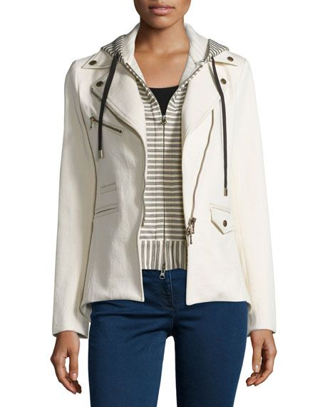 VERONICA BEARD STRETCH JACKET W/ STRIPED HOODIE DICKEY, ECRU. #veronicabeard #cloth #