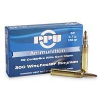 PPU, .300 Winchester Magnum, SP, 150 Grain, 20 Rounds: PPU, .300 Winchester Magnum, SP, 150 Grain, 20 Rounds