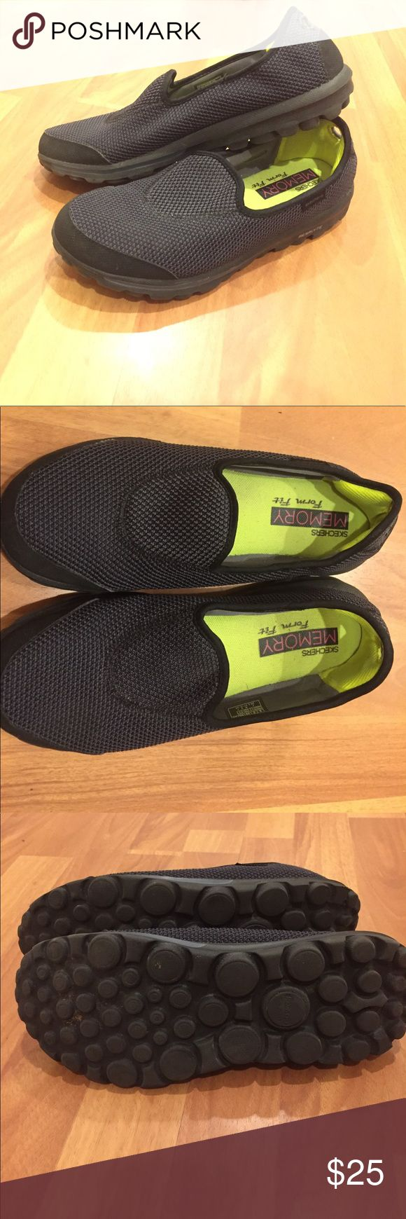 Sketchers go walk slip on sneakers Gently used clip on sneakers. These shoes have a heavenly memory foam lining that make walking all day super comfy. There is even memory foam on the back of the heel for added comfort! Skechers Shoes