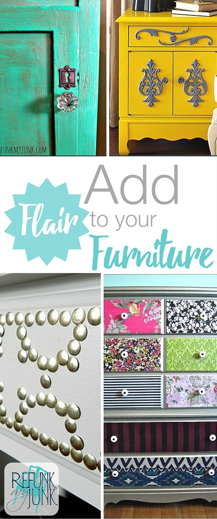 5 Ways to add flair to your furniture and other DIY furniture painting ideas and techniques by Refunk My Junk