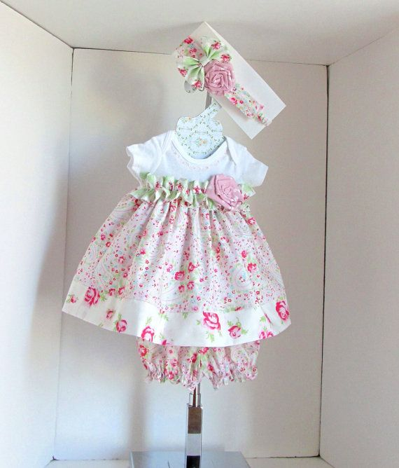 Easter baby dress NB- 3pc set- baby girl clothing- baby dress- baby girl clothing- pink floral. on Etsy, $36.00