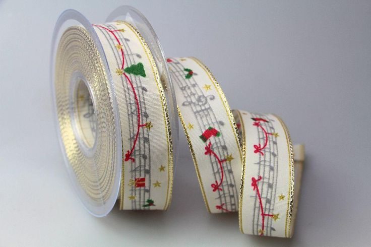 Weihnachtsband Musik creme 25mm mit Draht