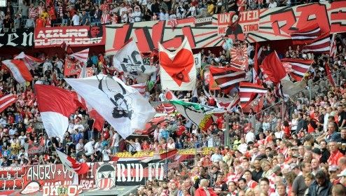 When I visited Dusseldorf, the playoff final between Fortuna and Duisberg was on - which saw Fortuna Dusseldorf  promoted to Bundesliga for the first time in many years! For-tun-na!