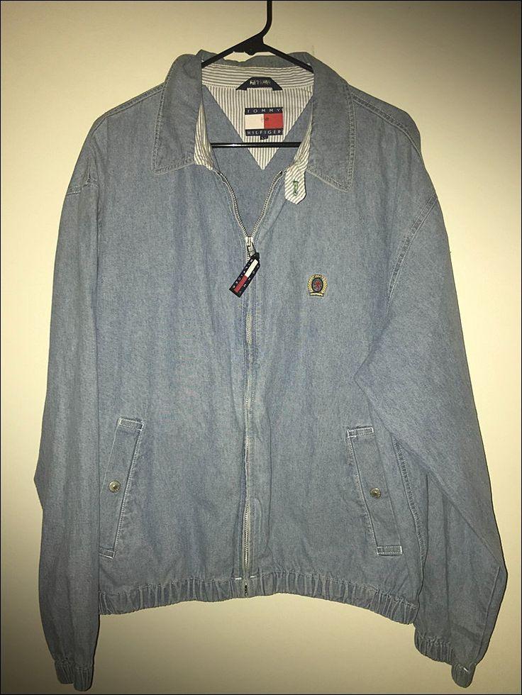 Vintage 90's Tommy Hilfiger Denim Zip Up Windbreaker Jacket - Size Large by RackRaidersVtg on Etsy