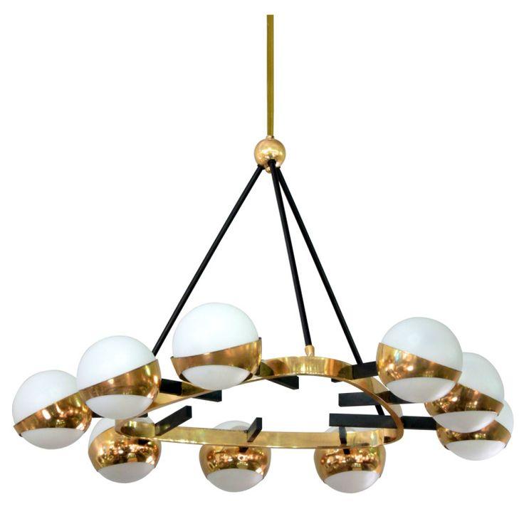 Elegant chandelier with white glass globes by arredoluce elegant chandeliersmodern chandelierglass globelight