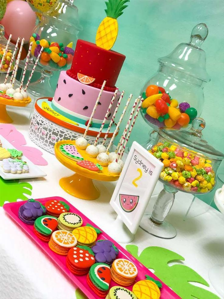Tutti Fruity Birthday Party Ideas Photo 2 Of 8 Fruit Birthday Party 2nd Birthday Party For Girl Tutti Frutti Birthday Party