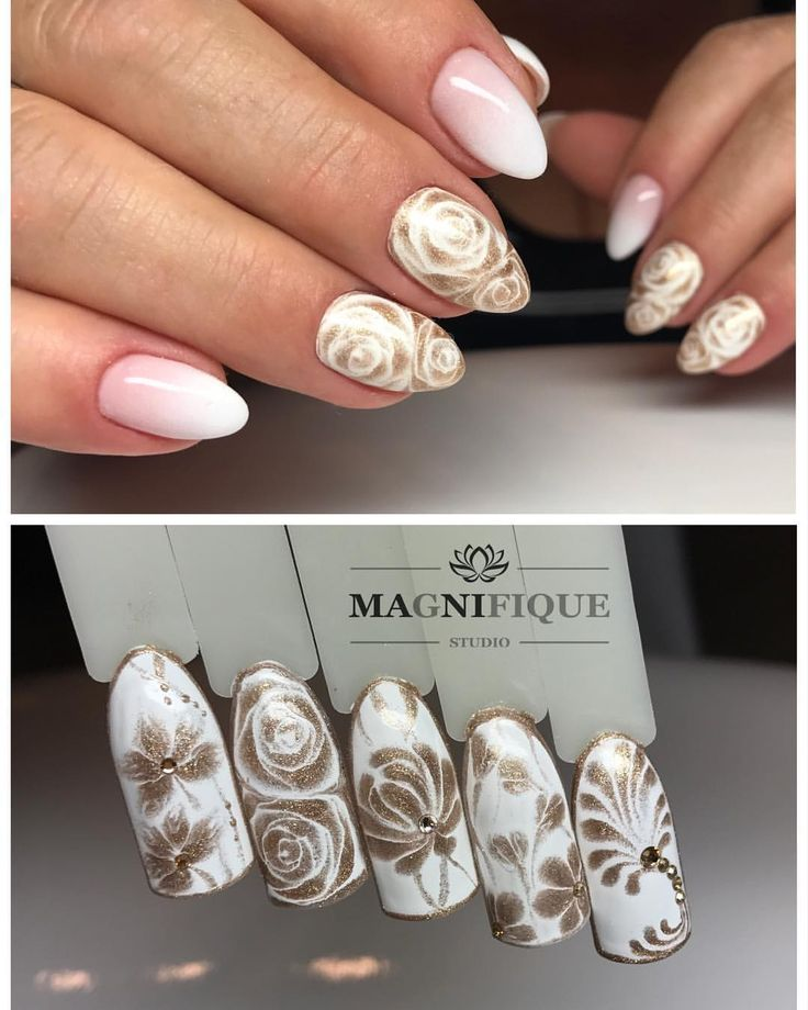 "Sharm effect Nails gold white Babyboomer Magnifque Studio (@magnifique_studio_indigo_nails) auf Instagram: ""Sharm effect nails. Indigo X White & Shine on Bling Bling. #indigo #indigonails #indigonailslab…"""