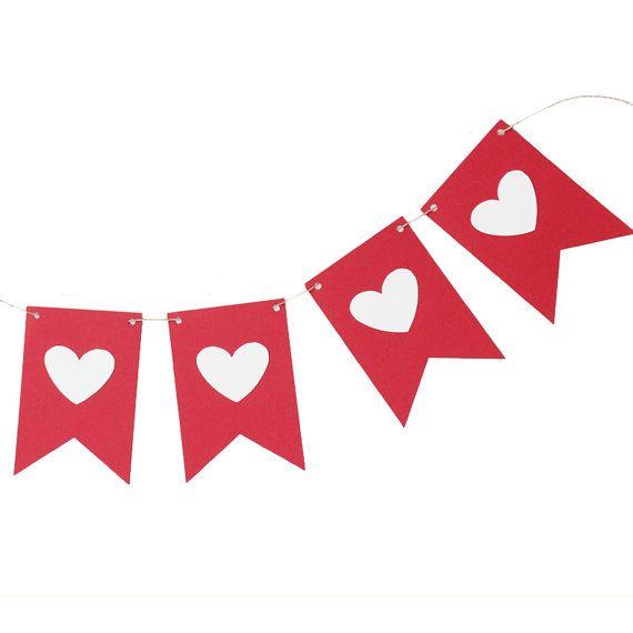 Valentine vlag Banner rode en witte vlag door MakeItMerryShop
