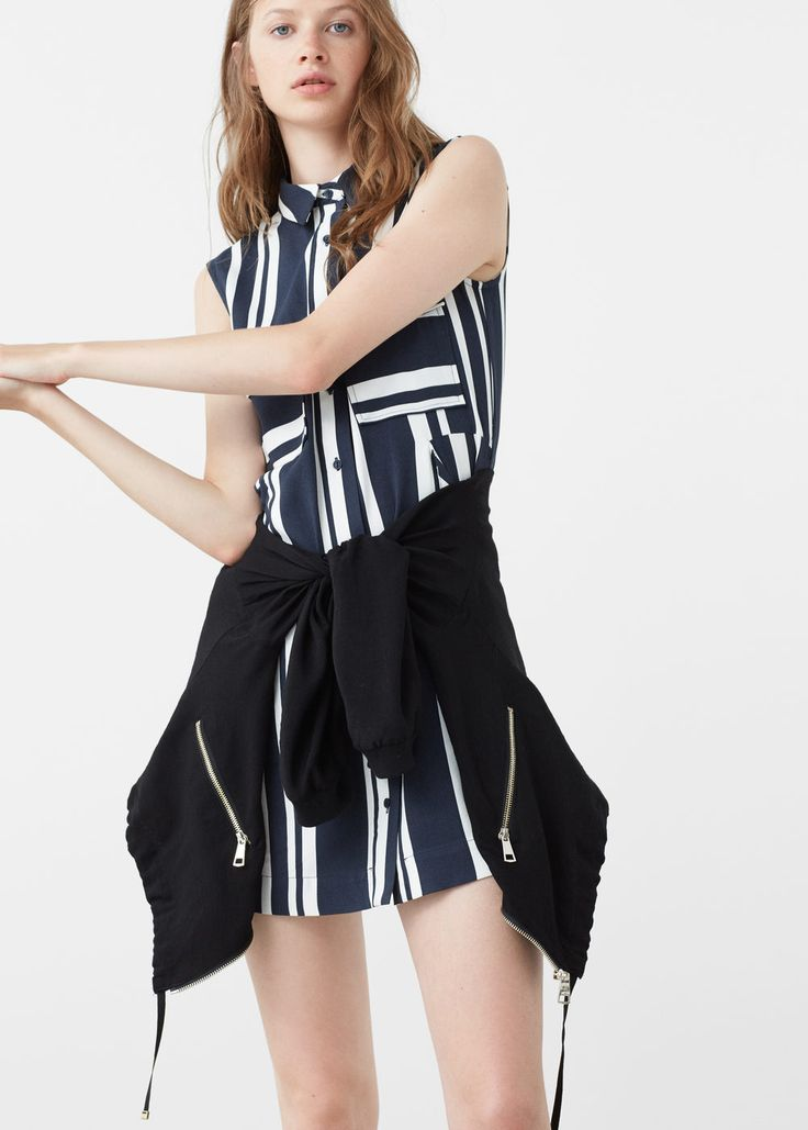 Gestreepte katoenen jurk - Jurken voor Dames | MANGO België