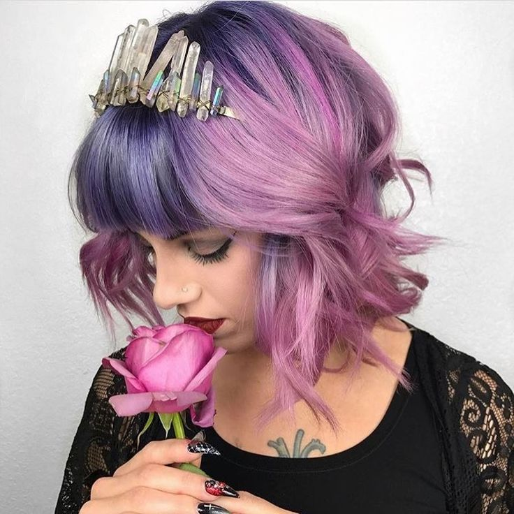Purple Violet Red Cherry Pink Bright Hair Colour Color Coloured Colored Fire Style curls haircut lilac lavender short long mermaid blue green teal orange hippy boho ombré pretty   Pulp Riot
