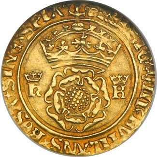 A crown coin being from 1509 to 1533 during Henry VIII's marriage to Katherine of Aragon, hence the crowned 'K' opposite of the crowned 'H' for Henry.