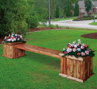How To Build A Landscape Planter Bench. Build Inexpensively From Landscape  Timbers. Trace And Cut Step By Step Planter Bench Plans.