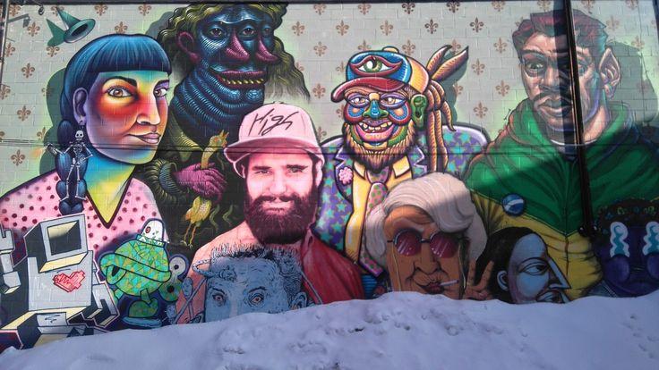 Fresque Murale dans le quartier Mile End de Montréal