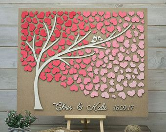 Custom colors 3D Wedding guest book alternative tree wood hearts Rustic wedding guest book Unique guestbook wooden Wedding gift Tree of life