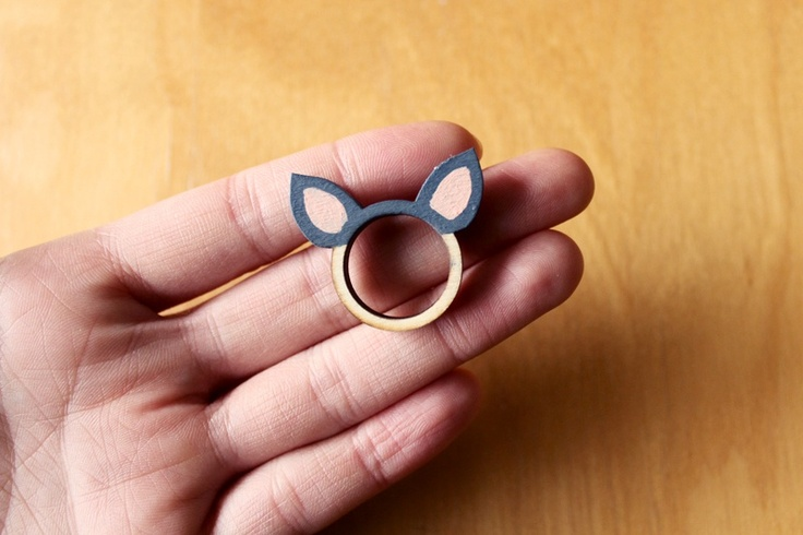 Bear Ears Wooden Ring by Whimsy Milieu on Young Republic - http://www.youngrepublic.com/jewelry/rings/bear-ears-wooden-ring.html