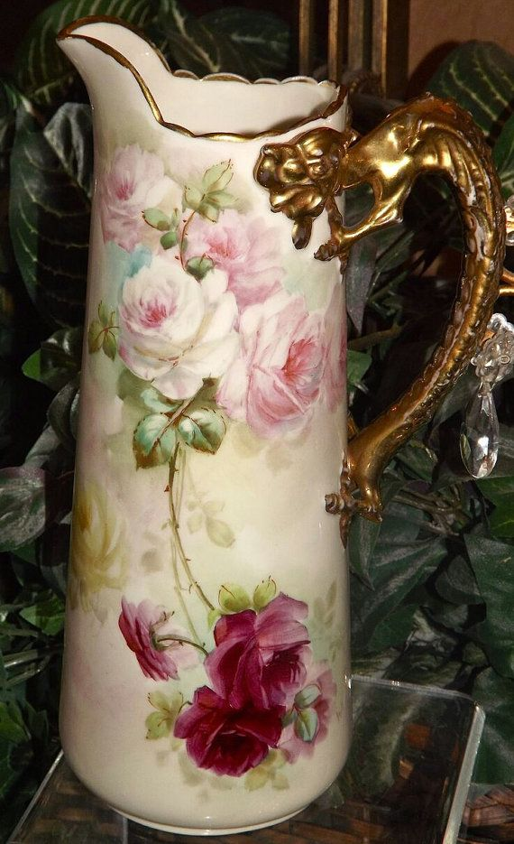 Hand Painted China Pitcher with Floral by EMCollectiveVintage, $995.99
