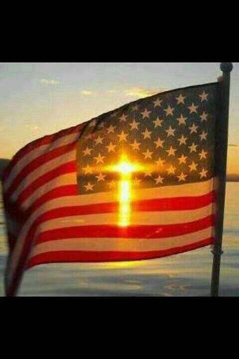 Cross shining through the American Flag