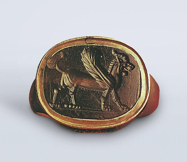 Scarabaeoid seal. Lion-Headed Gryphon 5th-4th century BC  Carnelian, The State Hermitage Museum, St. Petersburg