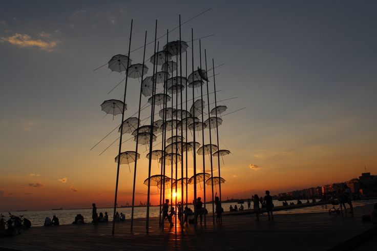 """""""Umbrellas""""-sculpture of known artist Giorgos Zogolopoulos. You can find it at the seafront in Thessaloniki. http://www.omilo.com/thessaloniki-some-secrets/"""