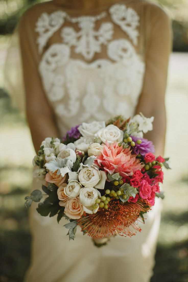 Wedding Bouquet - Rose, Dahlia, Pincushions, David Austin, Coral