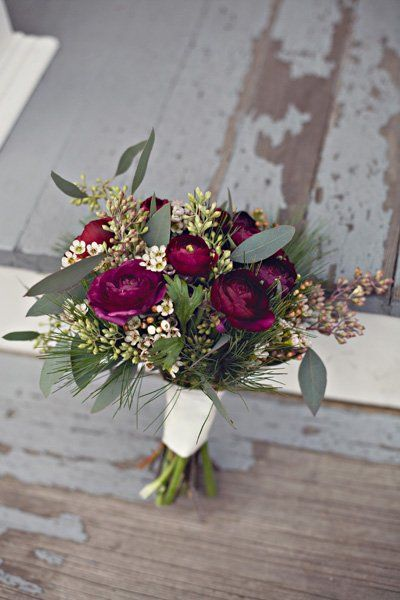 Rustic Vintage Winter Blush Burgundy Ivory Silver Flowers Wedding Bridesmaids Photos & Pictures - WeddingWire.com