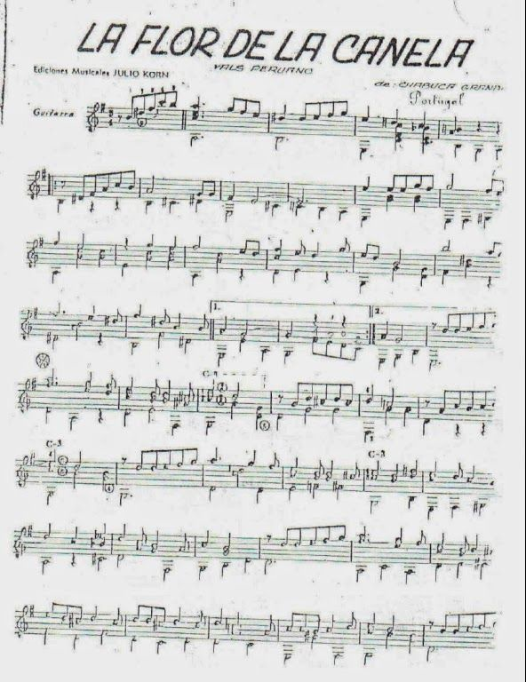 Partituras para Guitarra: Chabuca Granda - La flor de la canela