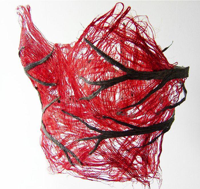 "Raija Jokinen ~ ""Jatkuva paine"" | ""Constant Pressure"" (2004) pellavakuitu / flax 22 x 28 x 30 cm | ©Raija Jokinen"