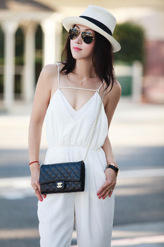 Finders Keepers The Someday Jumpsuit in white, Finders Keepers white jumpsuit, Finders Keepers label, Jumpsuit style, all white, summer style, casual chic, J.Crew Panama Hat, Tibi Amber Single Band Sandals, Ray-Ban sunglasses, Chanel chain purse