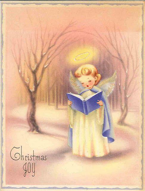 Lovely Vintage Angel Christmas card, Pastels