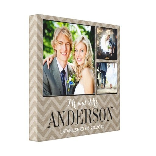 Rustic Wedding Monogram Photo Collage Canvas