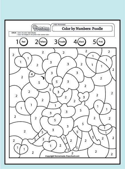 Poodle colour by numbers for younger ones Great website
