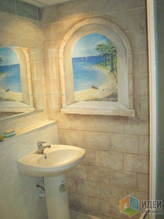 46 best bathroom murals images on pinterest bathroom for Fake window for bathroom