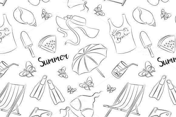 Pattern of summer symbols by Netkoff on @creativework247