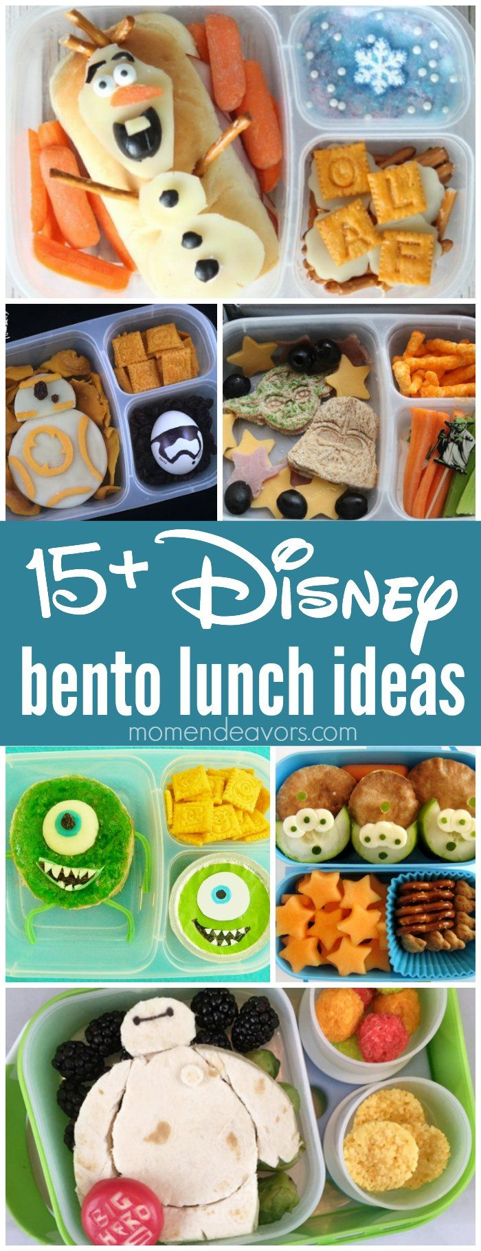 15+ Disney Bento Lunch Ideas - adorable lunches inspired from Frozen, Star Wars, Monsters Inc, Toy Story, and more Disney favorites! Perfect for a creative back-to-school lunch surprise!