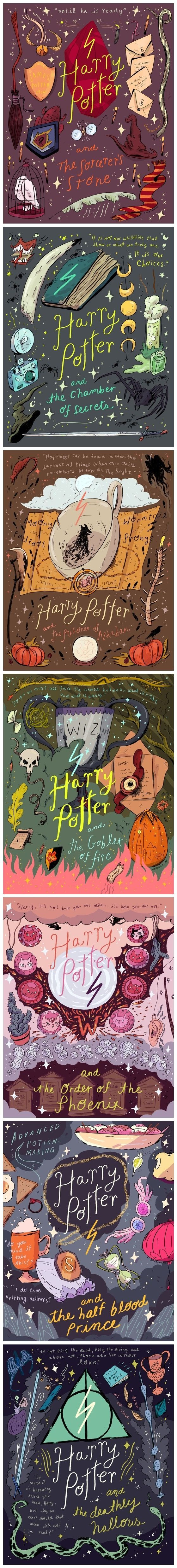 Harry Potter print Illustration from http://natalie-andrewson.tumblr.com/post/130281960238/hey-i-officially-have-all-the-harry-potter