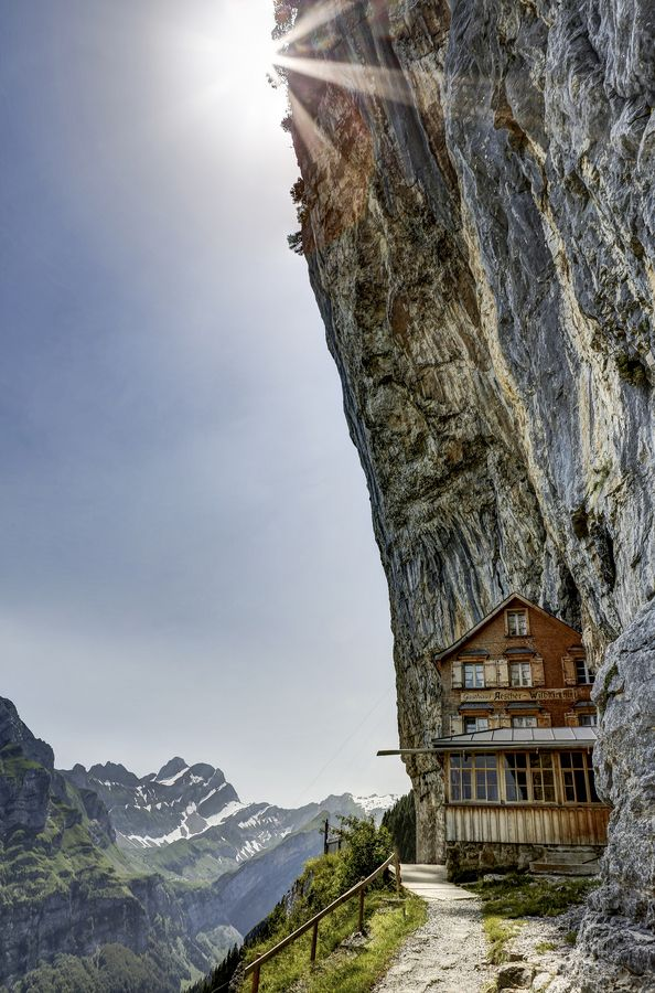 This is crazy and very cool-  Ebenalp, Appenzell Alps, Switzerland