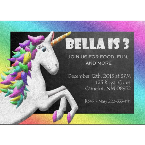 Rainbow Unicorn Invitation Rainbow Unicorn Party by NestingRight