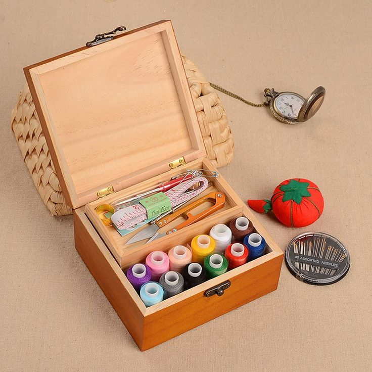 Wood Box Sewing Kit Needle Tape Scissor Multifunction Threads Sewing Tools Accessory Sewing Kits For Home & Travelling With