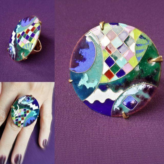 Каждый кулон, однажды может стать ярким кольцом)) #enamel #jewelrydesign #handmadejewelry #odessa #украина #украшения