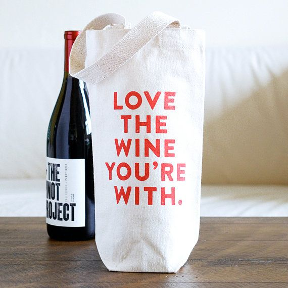 Love the Wine You're With Wine Tote Bag by plateandpencil on Etsy