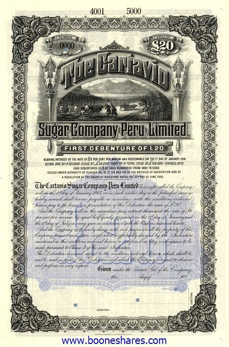 booneshares.com > Auction Catalogue No.55 / Cartavio Sugar Company Peru Limited6% First Debenture for £20 No Date (189-) / AZPPE003