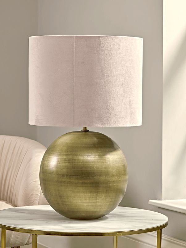 Oversized Brass & Blush Ball Table Lamp | Lamp, Table lamp