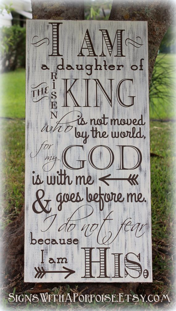 I Am His sign, Hand Painted Chalkboard Style Sign Distressed Wood, Typography Word Art, I am Daughter of King, Christian Sign - Picmia