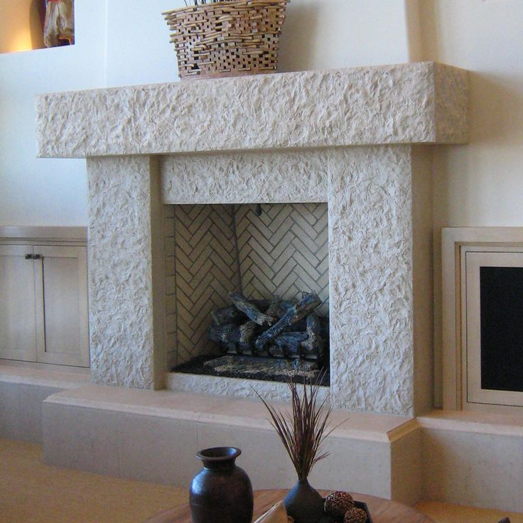 Awesome Contemporary White Stone Fireplace Mantels Ideas With Cool White Tile Pattern Chevron