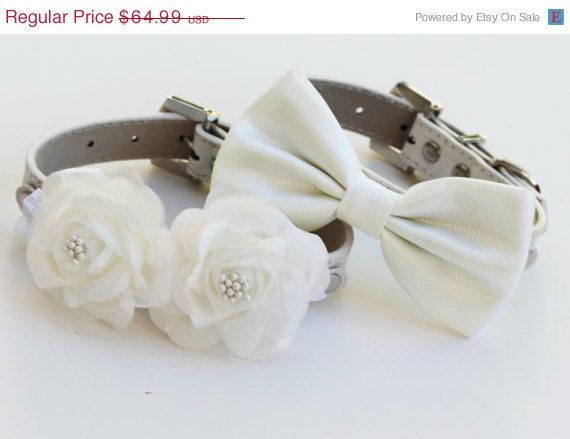 White Wedding Dog Collars -Two Chic  Wedding Dog Collars, white dog bow tie and Floral Dog Collar on Etsy, $62.50Dogs Bows, Floral Dogs, Dog Collars, Bows Ties, Bow Ties, Dogs Collars, White Weddings, Wedding Dogs, Dog Bows