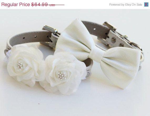 White Wedding Dog Collars -Two Chic  Wedding Dog Collars, white dog bow tie and Floral Dog Collar on Etsy, $62.50