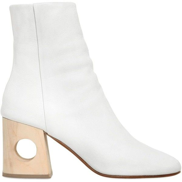 Ports 1961 Women 40mm Cutout Heel Leather Ankle Boots (2,080 BAM) ❤ liked on Polyvore featuring shoes, boots, ankle booties, white, cutout booties, cut-out ankle boots, cut out heel booties, white booties and leather boots