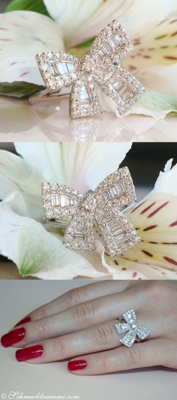 Idée et inspiration Bague Diamant :   Image   Description   Cute Diamond Bow Ring, 1,11 cts. H-SI1/2, WG18K – Find out: schmucktraeume.com – Like: www.facebook.com/… – Contact: info@schmucktraeu…